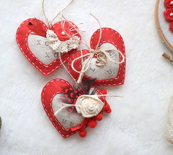 Valentine heart ornament pack of 3 ready by MiracleInspiration