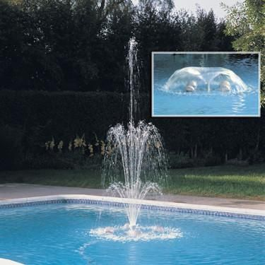 WaterStars Pool Fountain Features:  Transforms your pool into a beautiful fountain with the sight and sound of gently falling water Installs quickly and easily to your inground or aboveground swimming pool Three-tier and morning glory adjustable fountain heads allow you to change the shape and size of the water display. Made in the USA by Zodiac