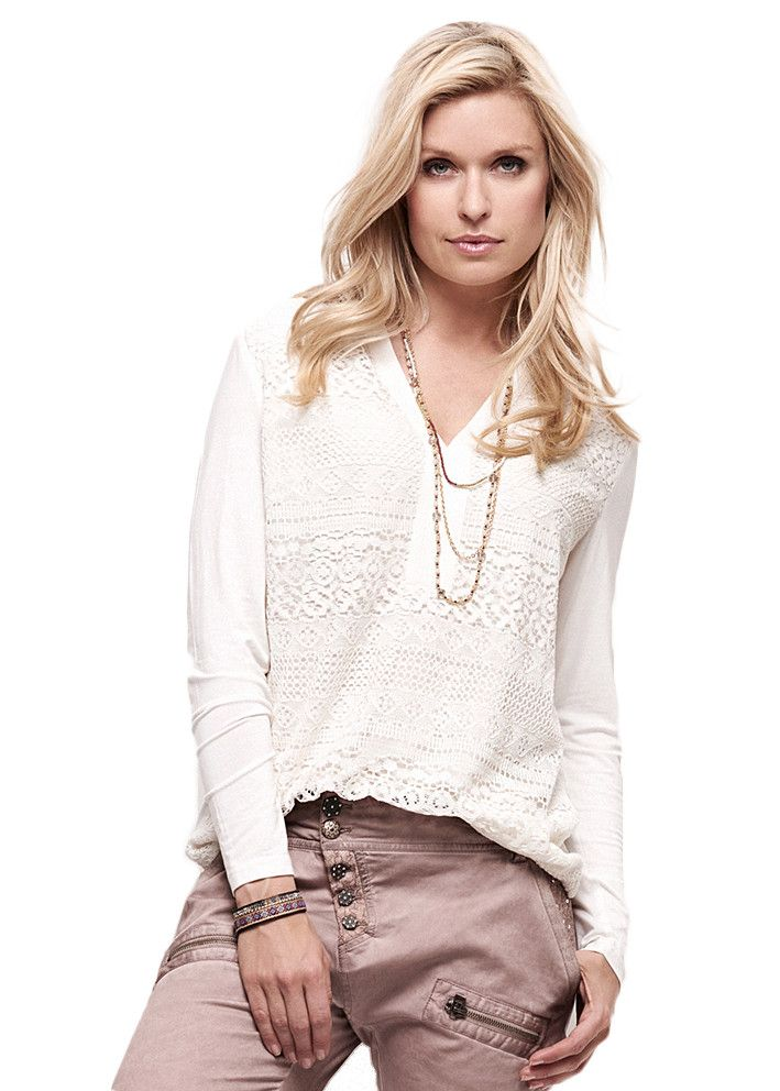 Cream Mindy Lace Shirt chalk 10600320 Blondebluse creme – acorns