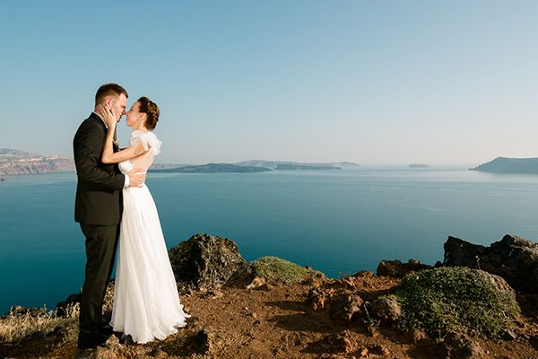Photo captured by Vangelis Photography See the weddng video here Tuscan inspired wedding inspiration, see more here http://www.love4weddings.gr/santorini-romatic-wedding/
