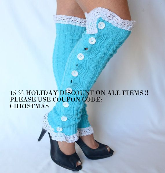 Leg warmers - turquoise cable knit slouchy open button down over the knee socks boot socks valentines day gifts