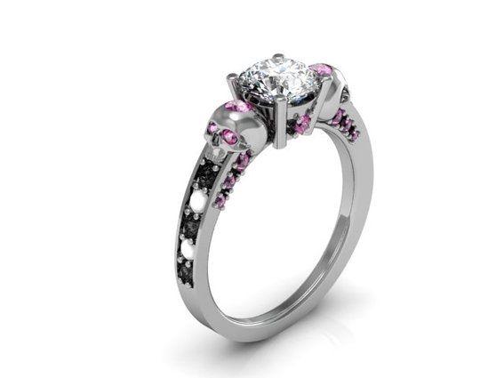 skull engagement ring hand crafted skull engagement ring by takayas custom jewelry - Skull Wedding Ring Sets
