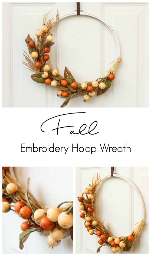 A cheap fall decor idea! Use an embroidery hoop to make a beautiful fall wreath! The perfect fall decoration idea. And you can make the entire piece in less than 20 minutes! Love the modern look of this fall DIY project :) Great video tutorial!