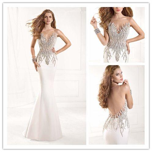 Blanco elegante de la sirena de baile vestidos largos 2015 baratos Vestidos de festa vestidos para ocasiones especiales Vestidos de noche rebordean Desnudos