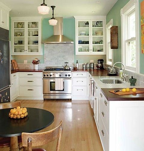 Farmhouse Kitchen With Dark Cabinets: White Cabinets, Aqua Walls, And Wooden Butcher Block Countertops