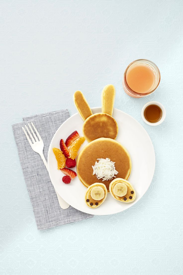 Add bananas, eggs, and flour to your blender and that's all it takes to make these bunny pancakes.