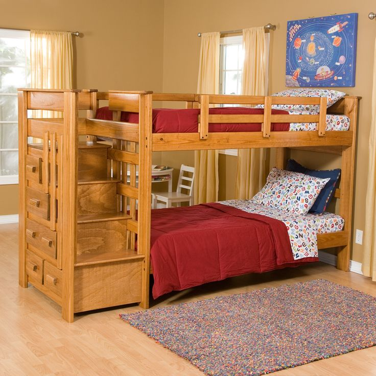 Heartland Twin Over Twin Bunk Bed With Stairs   2 Free Mattresses!   Kids  Beds At Kids Furniture Mart Part 38