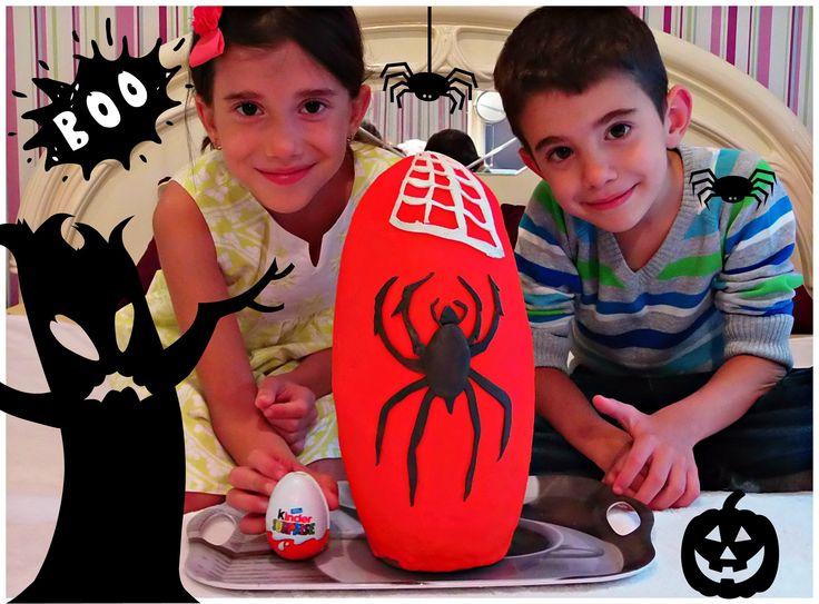 Giant Halloween Surprise Egg Play Doh - Rainbow Loom,Frozen,Huevo Kinder...