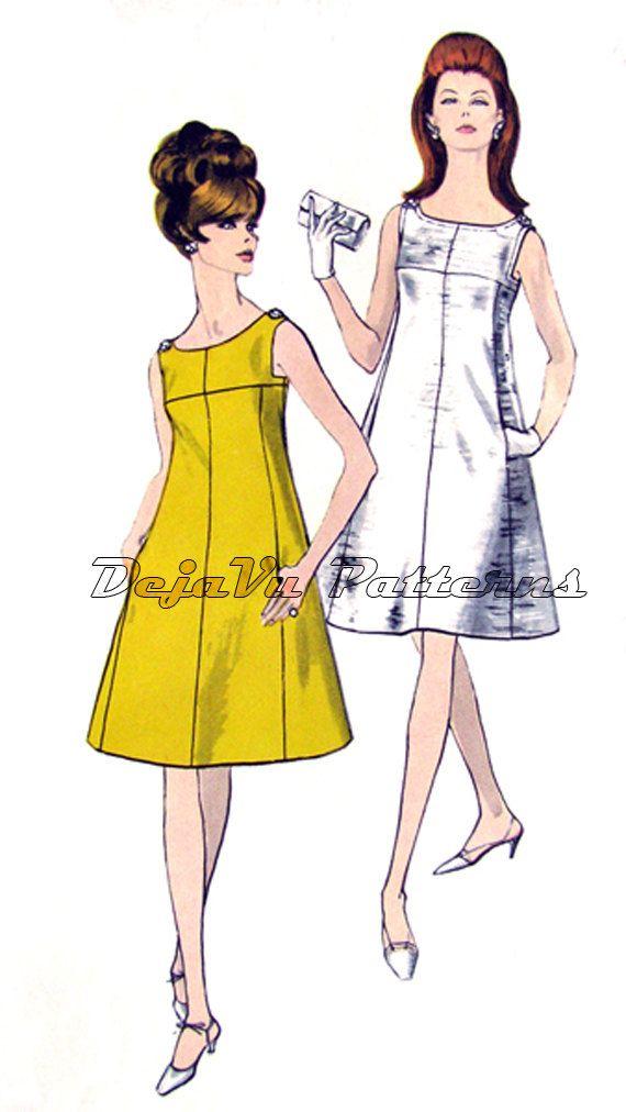 Vogue 7047 Vintage 1960s MOD A-Line Evening Sewing Pattern DejaVuPatterns