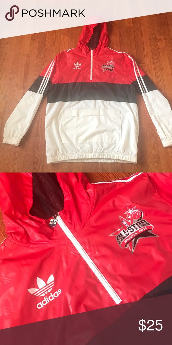 Adidas Official Windbreaker of NBA ALL STAR GAME Adidas Official Windbreaker of NBA ALL STAR GAME 2013. Like new, worn once or twice. Velcro pocket on front. Mens. Adidas Jackets & Coats Windbreakers