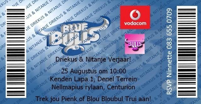 Blue Bulls Rugby Ticket Invitation
