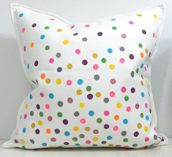 New 20x20 inch Designer Handmade Pillow Case with hand painted confetti. $45.00, via Etsy.