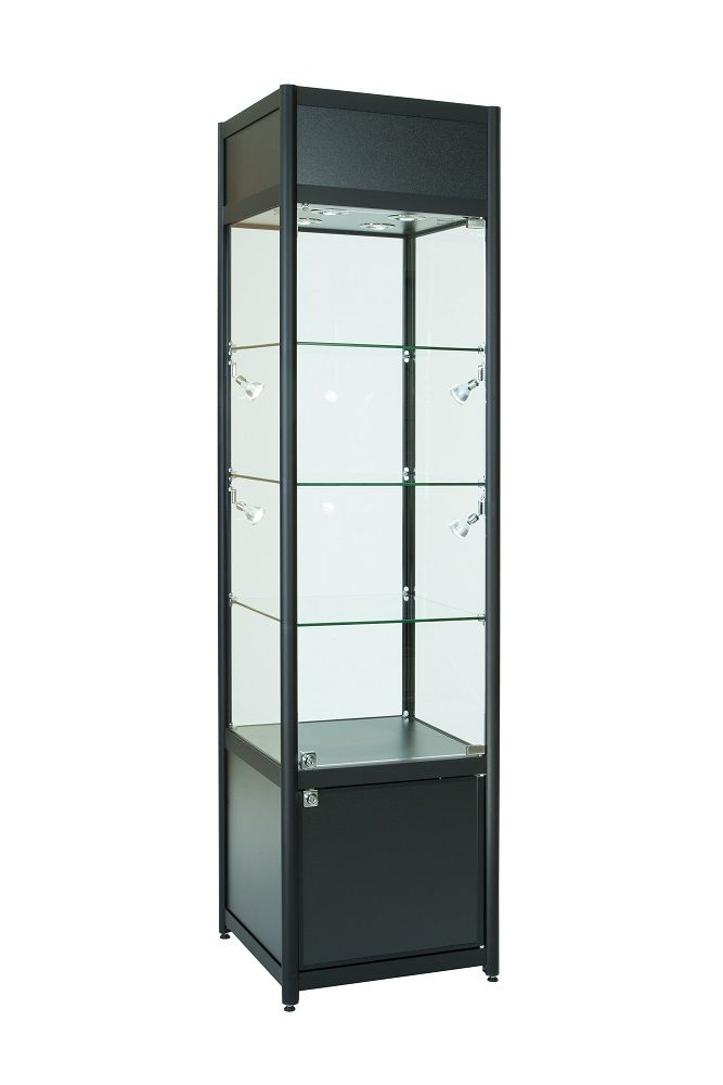 Glass Display Cabinet With Single Door Storage And Top Section For Product Branding Or Logo 8 Led Display Cabinet Glass Display Shelves Display Cabinet Modern