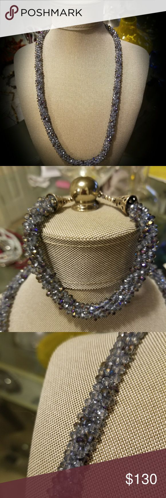 """Handmade Jewelry (matching set) Original Design. Iridescent Blue Czech Crystal beaded Necklace (23.5"""") & matching Bracelet (9.25""""). Hand woven w/ Sterling Silver accents and toggle clasps. Bracelet fits plus size woman. Handmade by @DD_Curves Jewelry Necklaces"""