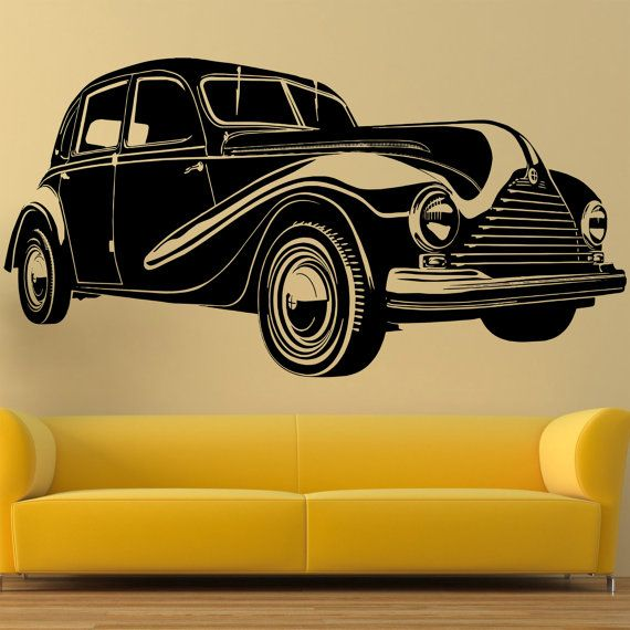 Vintage car silhouette Wall decal Retro car by StickersForAll