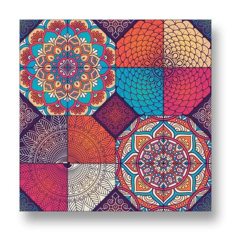 Boho Pattern Canvas Print.  This Boho-style canvas print has four main focus areas with different and interesting designs.  The intricate patterns are visually pleasing, while the arrangement is thought-provoking.  The warm colours will compliment similarly fashioned decor.