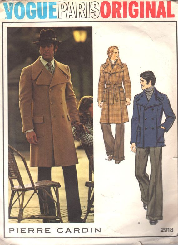Vogue 2918 1970s MENS Double Breasted Trench COAT  Jacket Pierre Cardin vintage sewing pattern by mbchills