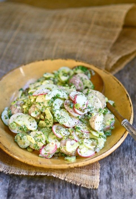 Russian Potato Salad, with crunchy radishes and celery, aromatic scallions, capers, dill and chives, draped in an umami dressing of anchovy, garlic, Worcestershire and lemon juice, is a wondrous balance of taste, color, temperature and texture.