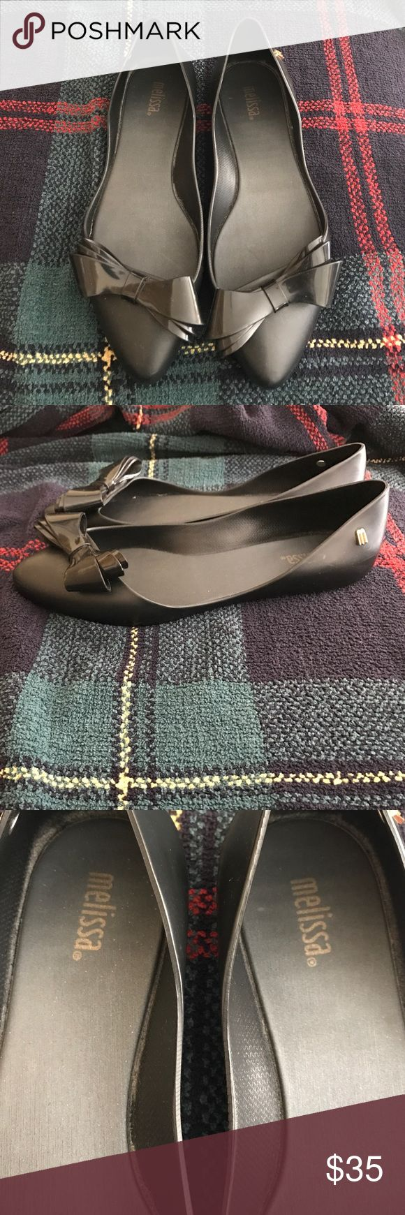 Pointy Toe Melissa Flats Melissa Pointy Toe rubber flats.  Condition 8/10. Signs of wear on the soles (pictured) but not worn down at all.  Emblems and Bows intact have not been repaired or reattached. Melissa Shoes Flats & Loafers