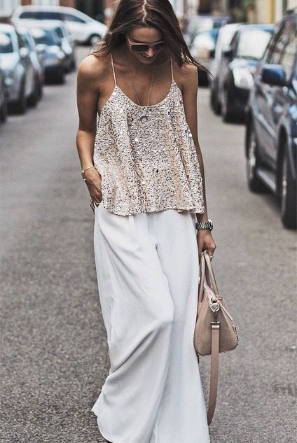 Nude glitz + flowing white.