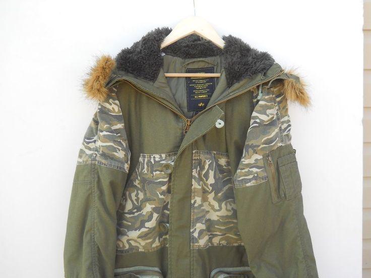 Authentic Alpha Industries Jacket parka cage code 3A382 size L Camo pockets #AlphaIndustries #Parka