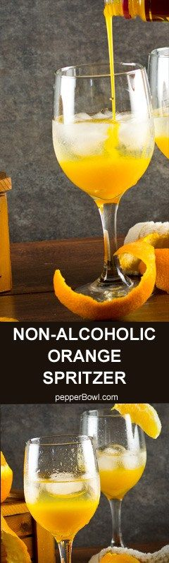 Orange Spritzer non alcoholic recipe is great for people who look for healthy, whole family drink still with the same fun. A 100% easy recipe, can be mixed just before serving. So no mess and fuss.
