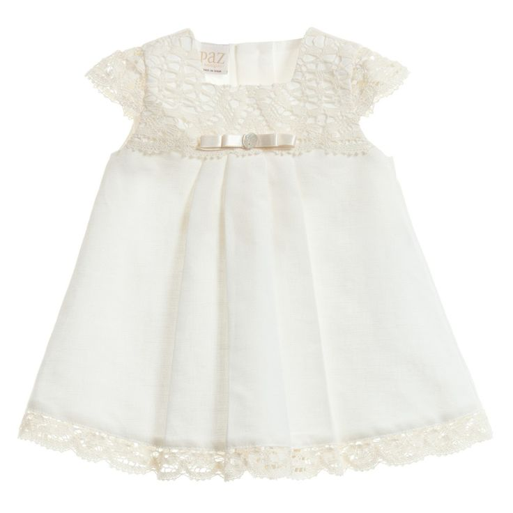 Ivory Linen & Lace Baby Dress with Knickers Set, Paz Rodriguez, Girl