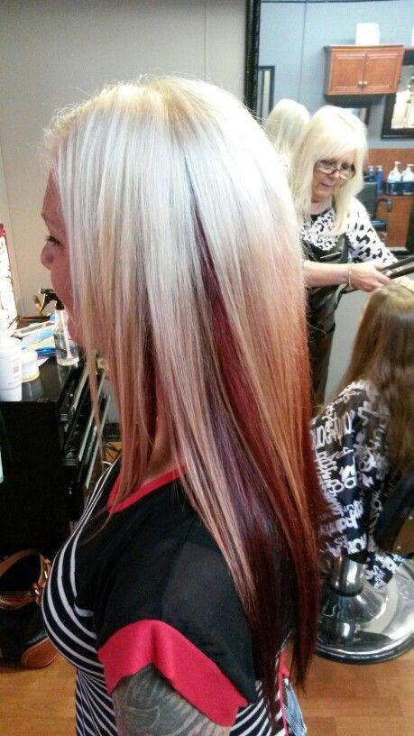 Platnium Blonde Bleach Blond Hair With Red Ombre Peek A