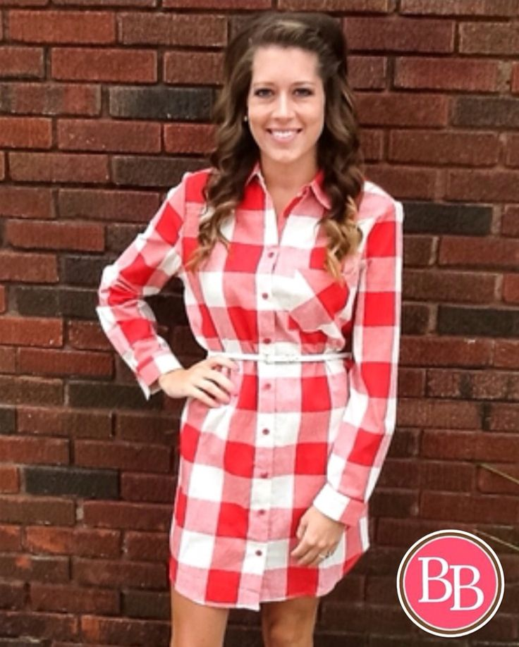 Our Red Plaid Button Up Dress is going fast!! • ONLY Medium and Large left!!! • $29.95 • Get yours today! #BBGirls #plaid #dress www.brandisboutiqueshop.co > Ladies > Dresses