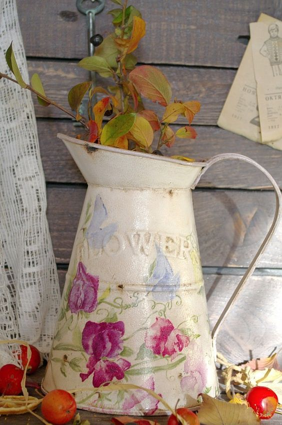 "Кувшин ""FLOWERS"" http://dcpg.ru/blogs/6786/ Click on photo to see more! Нажмите на фото чтобы увидеть больше! decoupage art craft handmade home decor DIY do it yourself watering can Materials and techniques: acrylic paint napkin varnish etc.:"