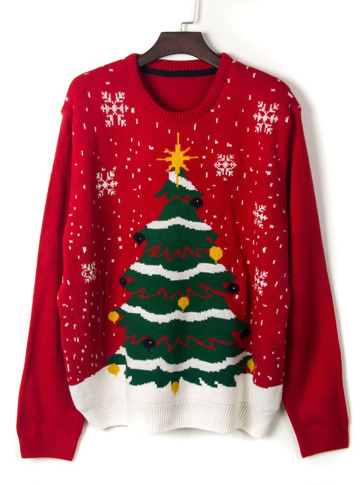 Red Christmas Tree And Snowflake Light Decorated Sweater