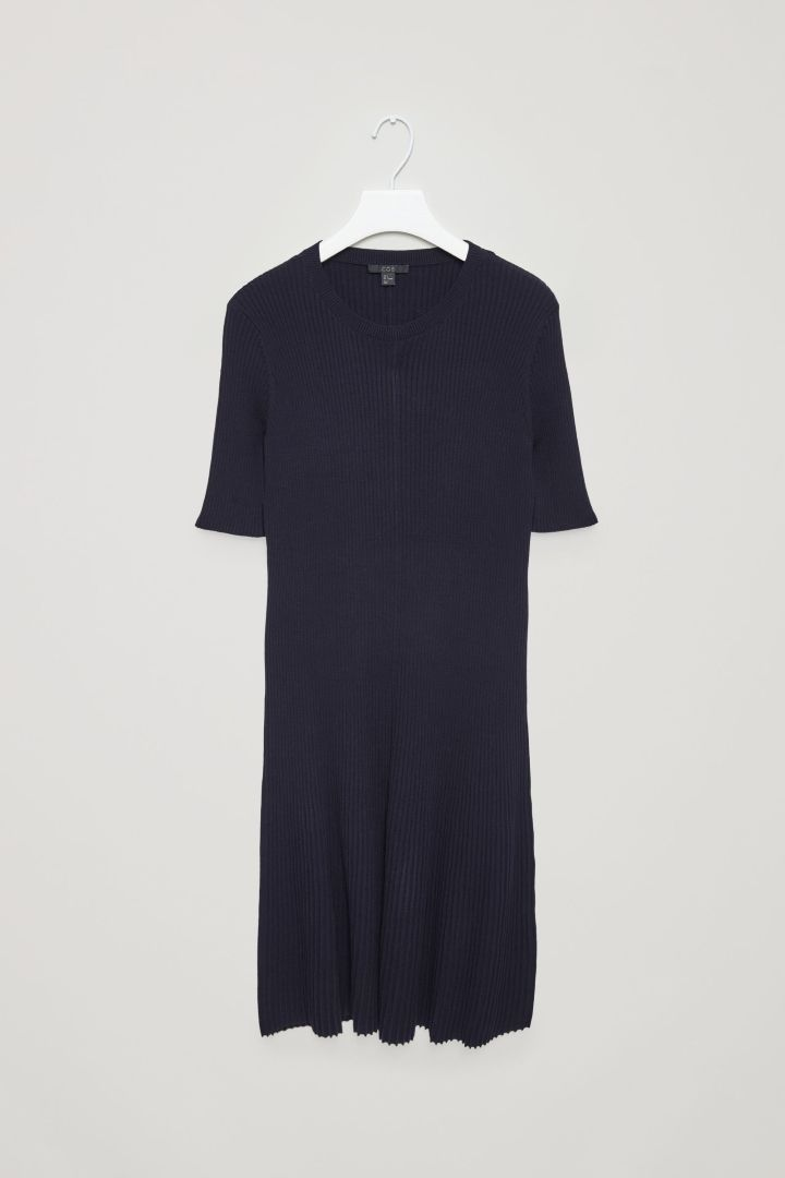 COS image 4 of Flared rib dress in Navy