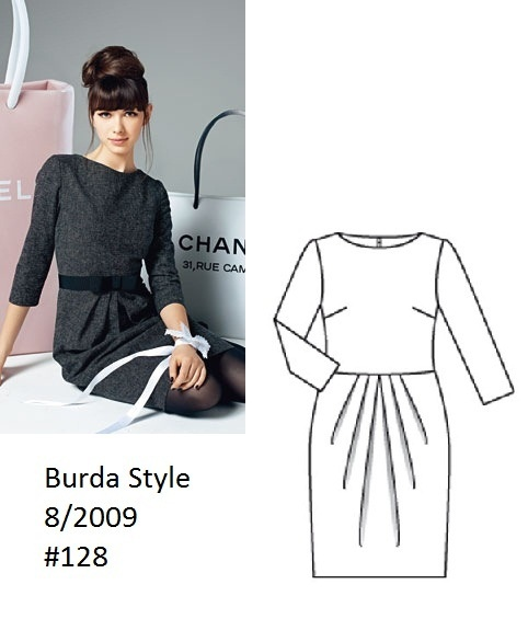 Burda Style Grey dress 8/2009 #128