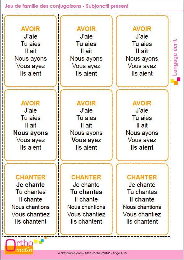 Jeu De Famille Des Conjugaisons Subjonctif Present Conjugaison Passe Simple Subjonctif Present Conjugaison