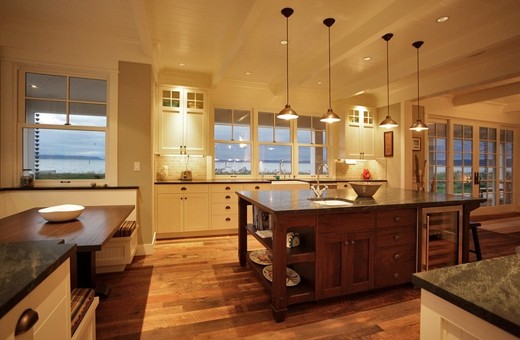 White cabinets, darker wood island + wine fridge