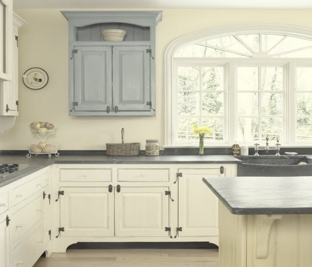 Dark Grey Countertops White Cabinets Light Blue Accent