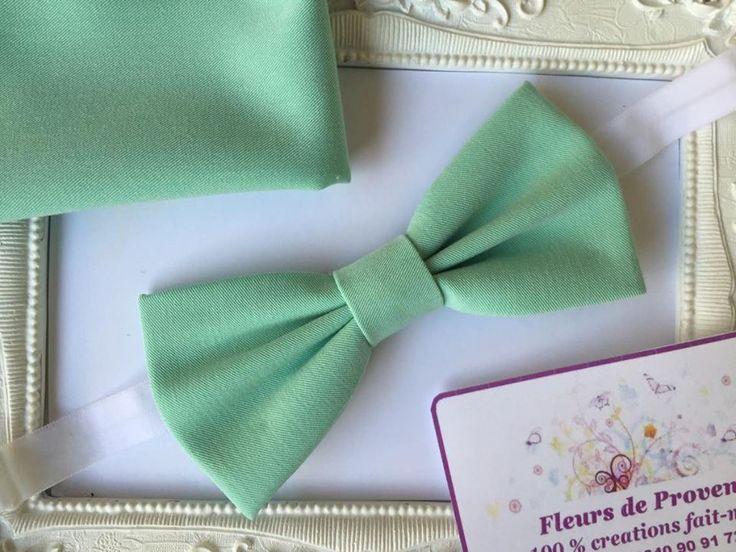 SET Noeud Papillon et Pochette Costume Assortie Vert Menthe - Homme : Cravates par fleurs-de-provence