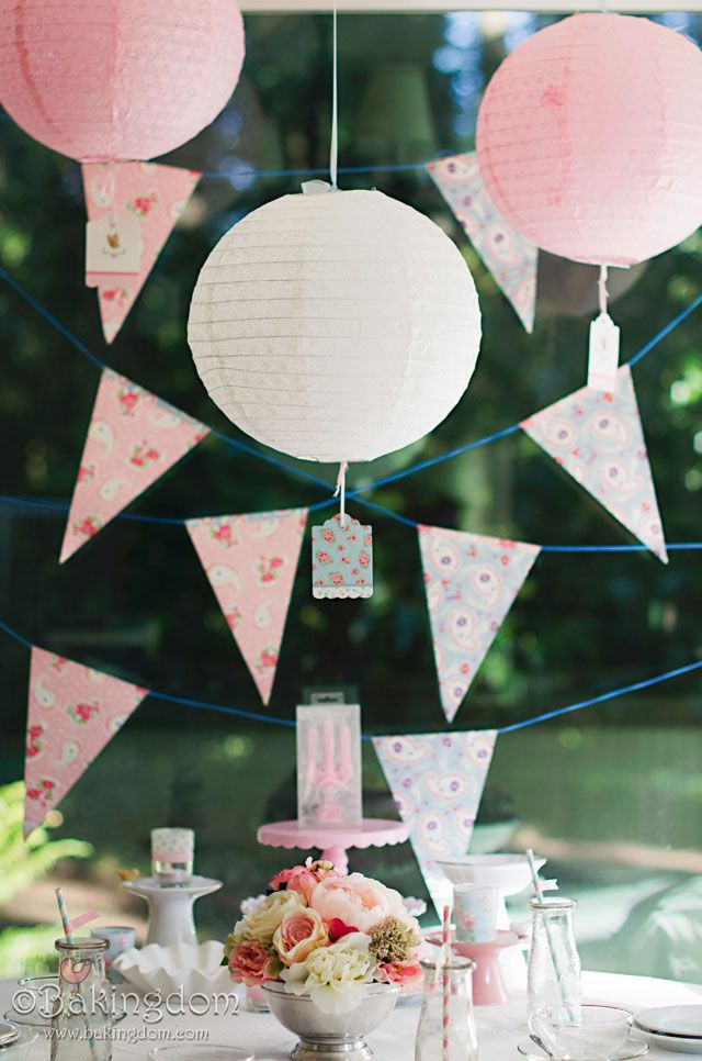 Pink and Fluffy Birthday Tea Party tags on lanterns are so sweet
