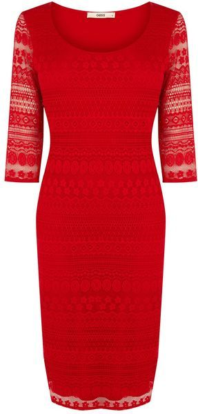 Oasis Red Lace Tube Dress