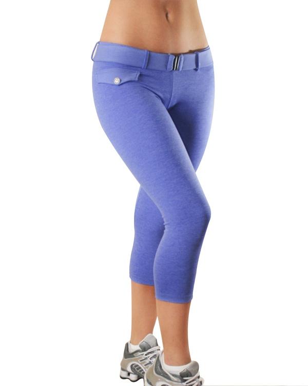 Blue workout capri, brazilian butt lifting, fitness wear, exercise wear. http://mowaafitnesswear.com/workout-clothing/littlefakepocketcapri-p-479.html