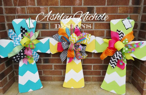 SHIPS NOW Chevron Cross Door Hanger Easter by DesignsAshleyNichole