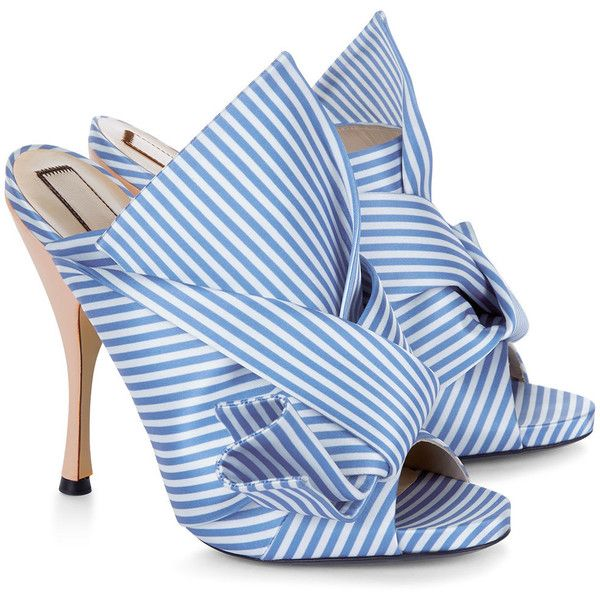 No21 Blue & White Stripe Satin Bow Mules ($560) ❤ liked on Polyvore featuring shoes, open back shoes, leather mule shoes, open toe mules, slip on shoes and high heel stilettos