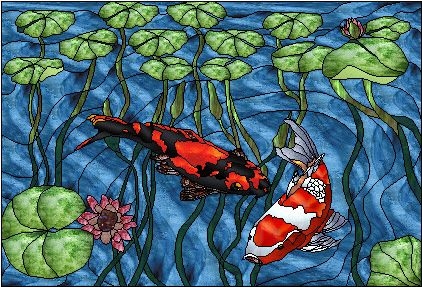 Koi pond stained glass pinterest for Koi pond glass