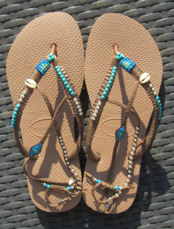 8c006337ad1a6 Turquoise Decorated Beaded Bohemian Flip Flop Sandals Thong Flats ...