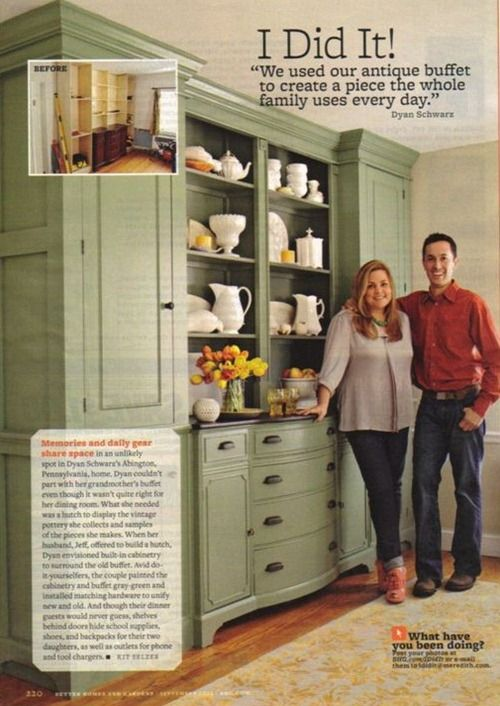 Homeowners used an antique buffet and built it into their kitchen by adding cabinetry around it.