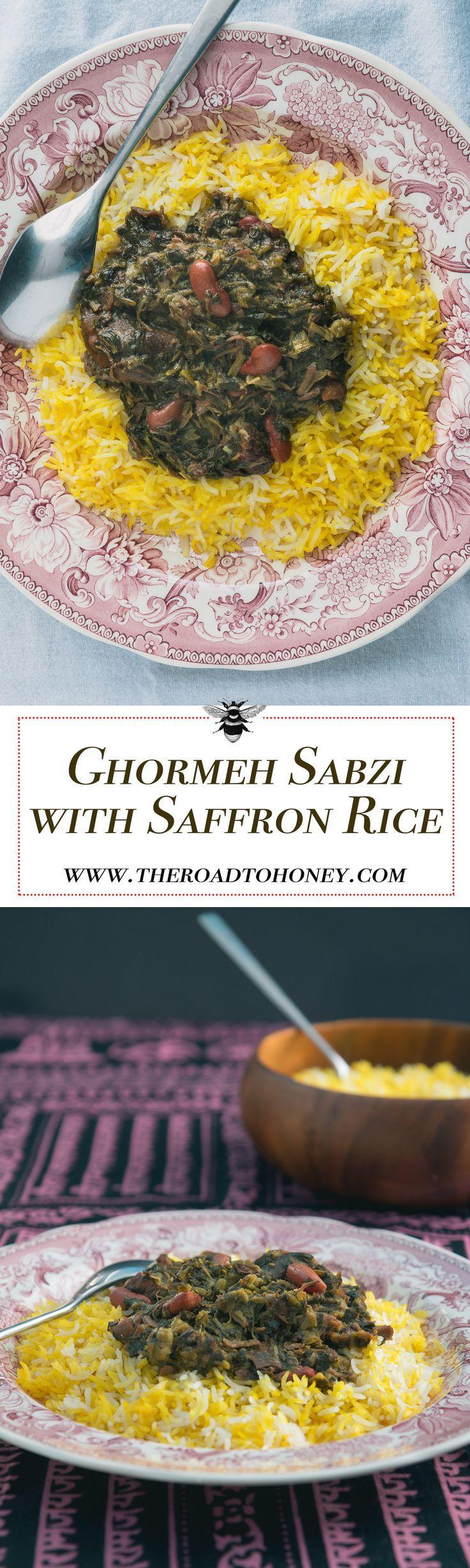 Ghormeh Sabzi with Saffron Rice & Tahdig (crispy rice)