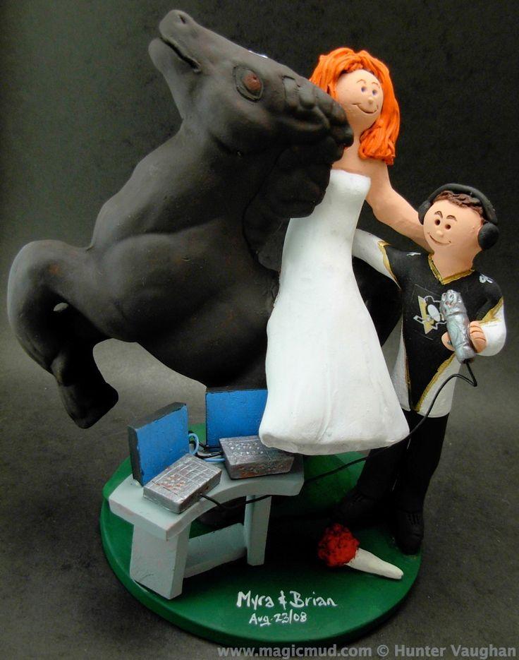 Bride on Horseback Marries DJ Wedding Cake Topper http://www.magicmud.com 1 800 231 9814 magicmud@magicmud.com https://twitter.com/caketoppers https://www.facebook.com/PersonalizedWeddingCakeToppers $235 #wedding #cake #toppers #custom #personalized #Groom #bride #anniversary #birthday#weddingcaketoppers#cake toppers#figurine#gift#wedding cake toppers #disc-jockey#DJ#party#music#mixmaster#DeeJay#Karaoke#discJockey