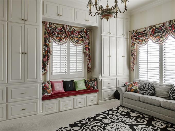 Window treatment idea for bay window seat in study? Maybe on exterior wall surrounding the bay.