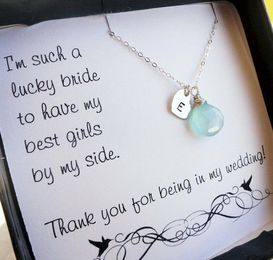 too cute :): Bride Maids, Gifts Ideas, Cute Ideas, Bridesmaid Gifts, Bridemaid, Bridal Parties, Thanks You Cards, Parties Gifts, Necklace