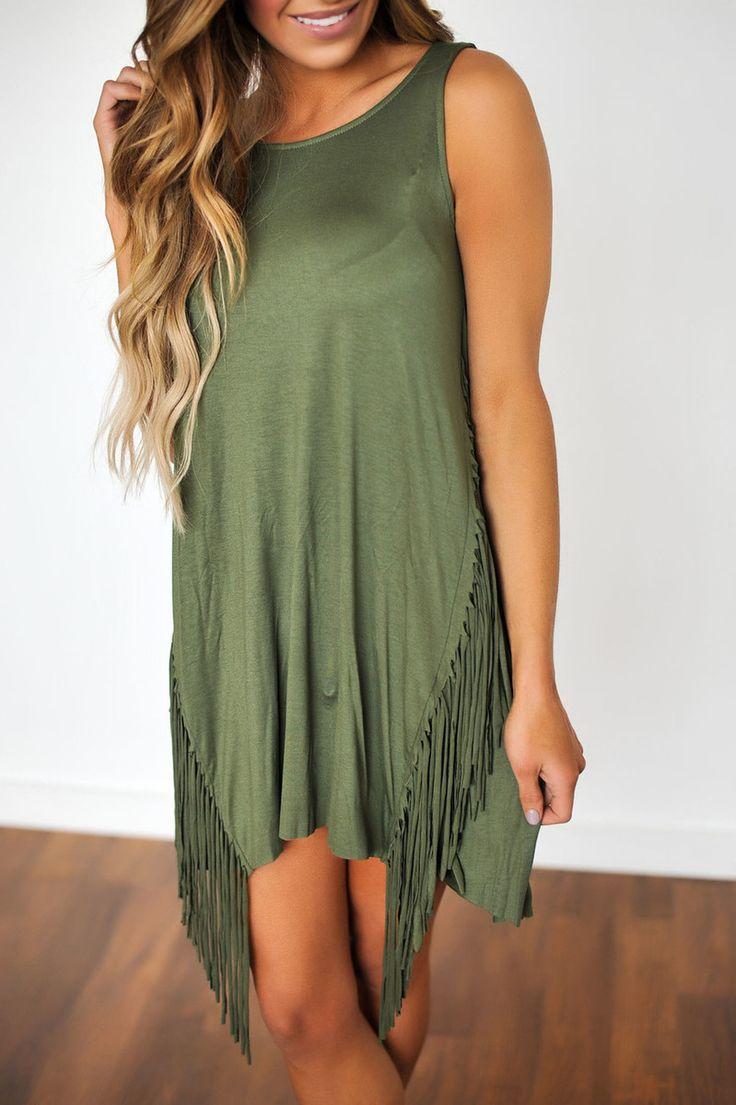 Olive Fringe Tunic - Dottie Couture Boutique